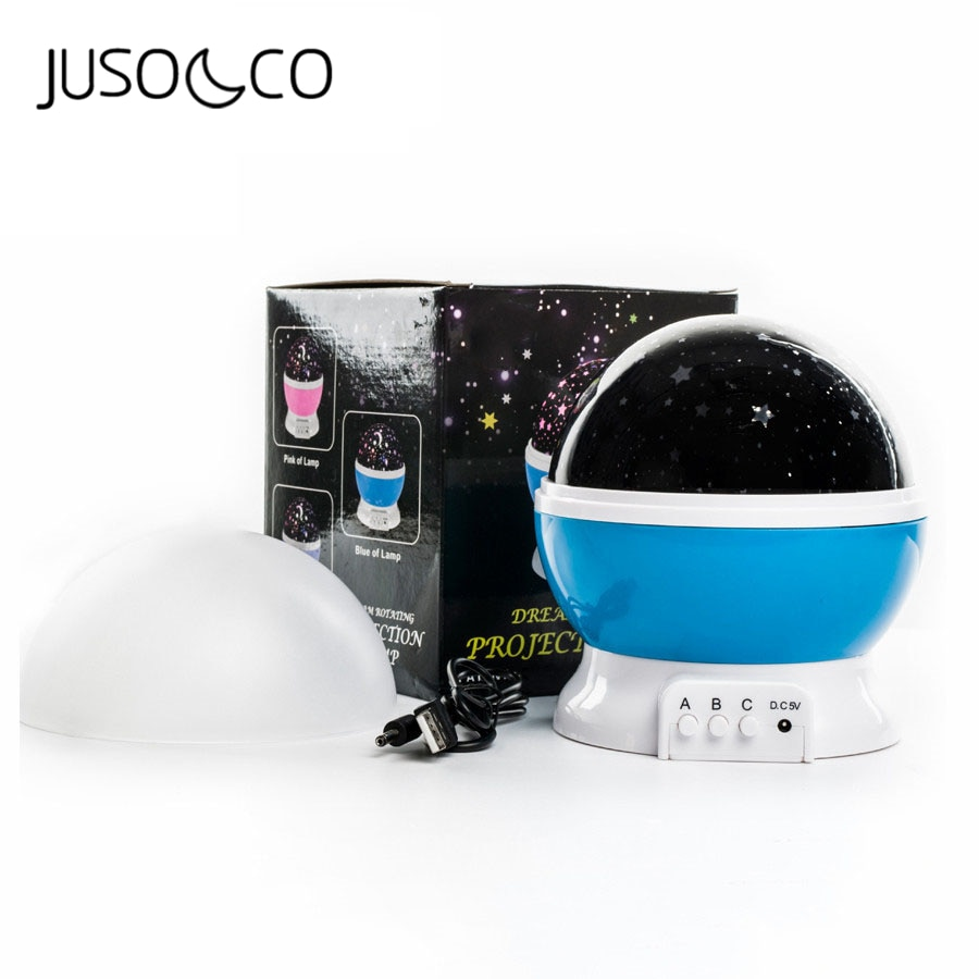 JUSOCCO Rotating Night Light Projector Spin Starry Sky Star Master Children Kids Baby Sleep Romantic Led USB Lamp Projection