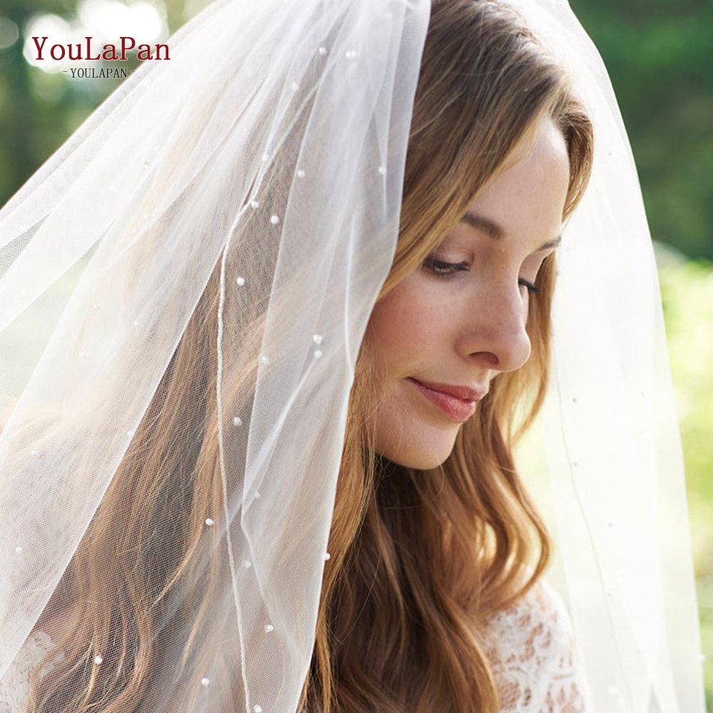 YouLaPan V06 1 Tier Bridal Veil with Comb Short Fingertip Length Bridal Veil Pearl Veil White Ivory Veil Wedding Accessories fingertip veil with small flowers
