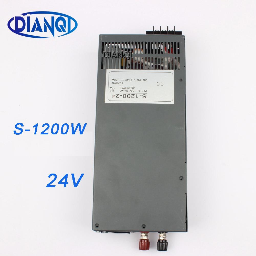 DIANQI S-1200-24 1200 واط 24 فولت 50A تحويل التيار الكهربائي لشريط LED ضوء التيار المتناوب إلى تيار مستمر suply المدخلات 110 فولت 220 فولت 1200 واط التيار المتناوب...