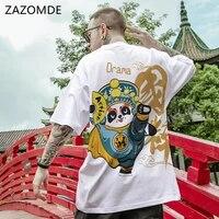 zazomde fashion men chinese style t shirts short sleeve cartoons panda print men beijing opera loose short sleeve t shirt m_5xl