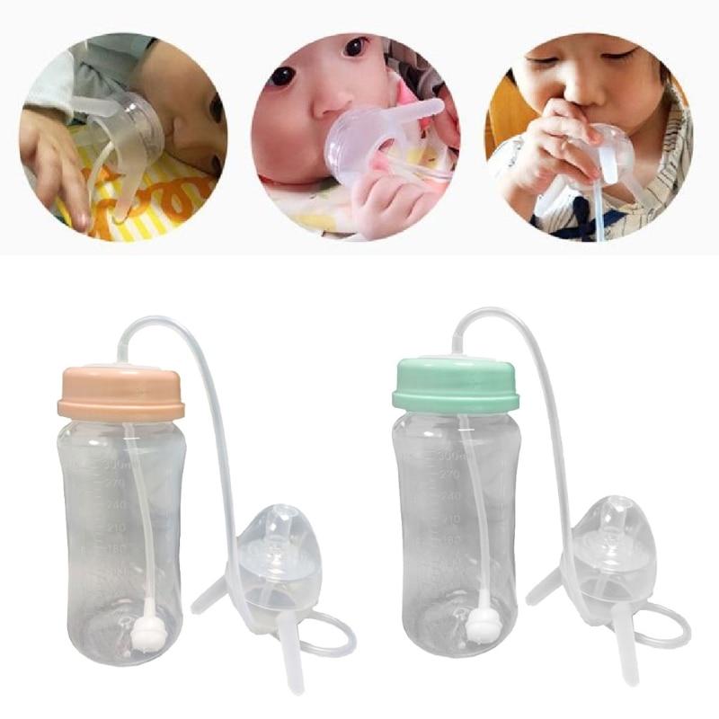 300 ml Self-Feeding Baby Bottle with Long Straw Tube Handless Imitation Milk Weaning Bottle Anti-Colic Nursing System