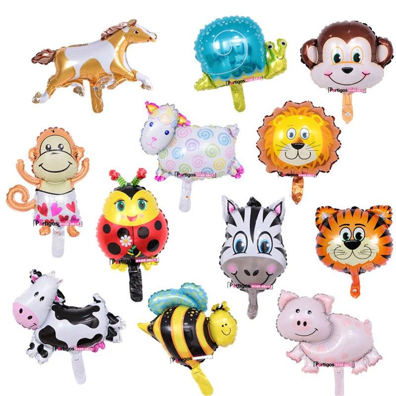 AliExpress - 10pcs mini animal balloons birthday party decoration Lion & monkey & zebra & cow head Safari zoo foil balloons Classic toys