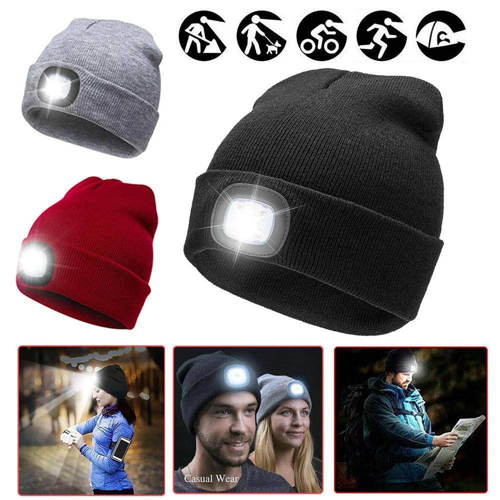 Vendas quentes!!! Unisex quente luz led alimentado por bateria gorro chapéu boné para a caça ao ar livre acampamento lã fio com lanterna
