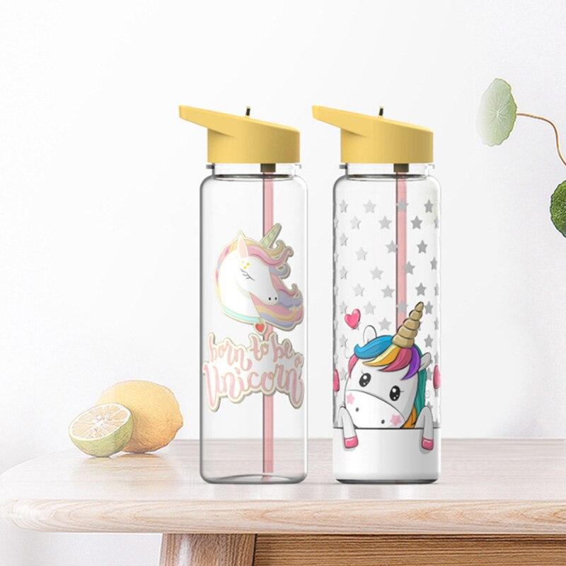 750 مللي 100% تريتان Kawaii لطيف زجاجة المياه للفتيات القش زجاجة المياه مع طيور النحام و يونيكورن الطباعة شرب مقبض القش غلاية