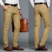mens pants cotton casual stretch male trousers man long straight high quality 4 color plus size pant suit 42 44 46