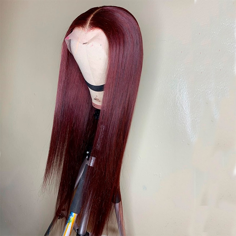Ombre 99J Color Lace Front Human Hair Wigs With Baby Hair Straight Brazilian Remy Hair Wigs Pre-Plucked maxglam lace front human hair wigs for black women straight pre plucked with baby hair brazilian remy hair natural color