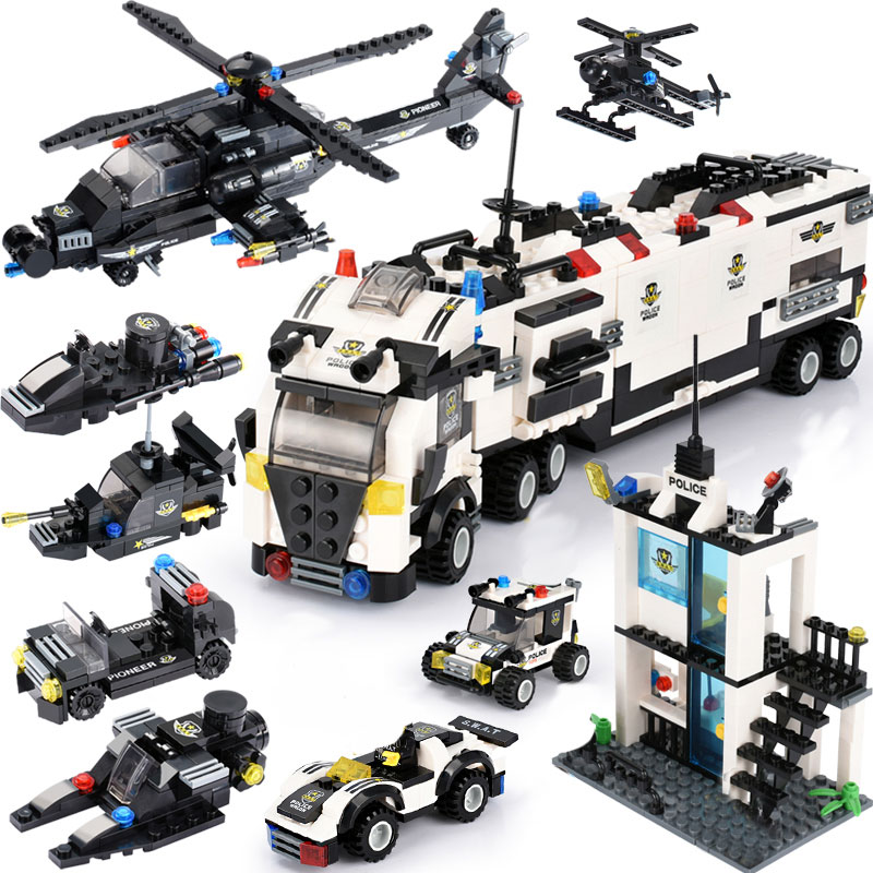City Police Station Blocks Sets DIY Police Truck Helicopter Building Blocks Compatible Brand Blocks Assemble Vehicle Bricks Toys assemble ph35005 1 35 russia 279 engineering nuclear tank blocks kits