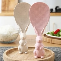 creative wheat straw meal spoon cute bunny non stick rice stereo rice spoon household high temperature resistant scoop ladel