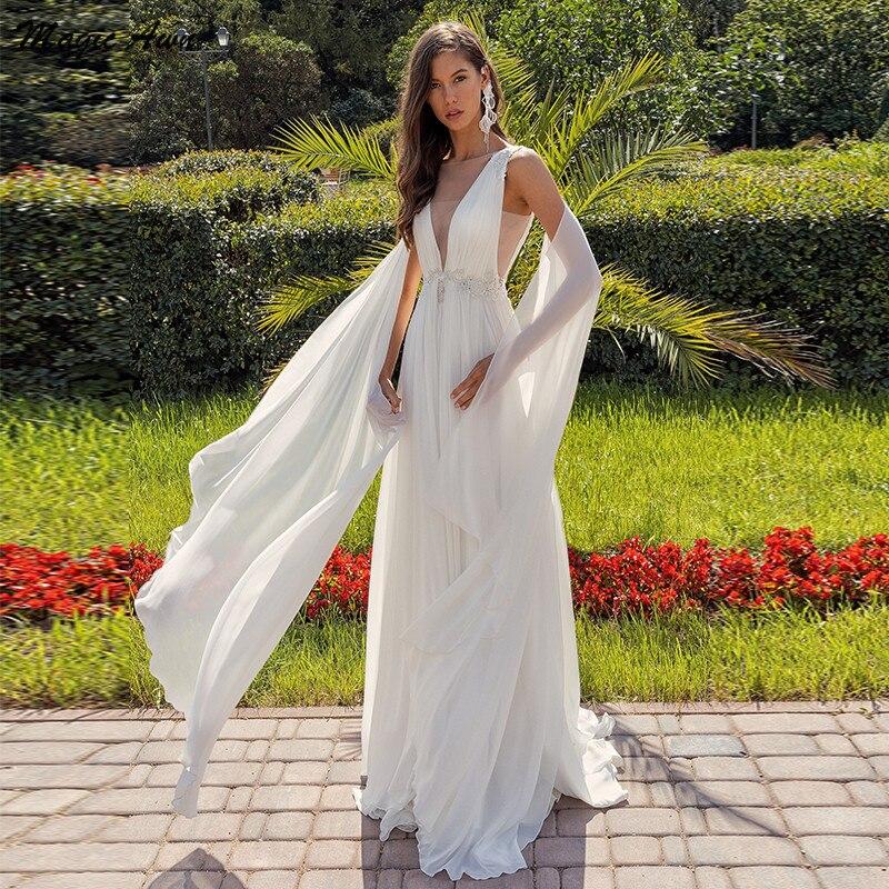 Magic Awn Princess Boho Wedding Dresses Chiffon Lace Appliques Seuqins Illusion Beach Mariage Gowns With Straps Abito Da Sposa недорого