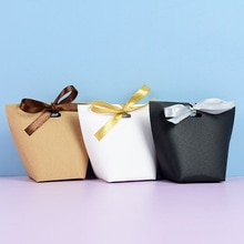 5pcs Blank Kraft Paper Bag White Black Candy Bag  Party Baby Shower Paper Chocolate Boxes Wedding Favors Gift Box Package