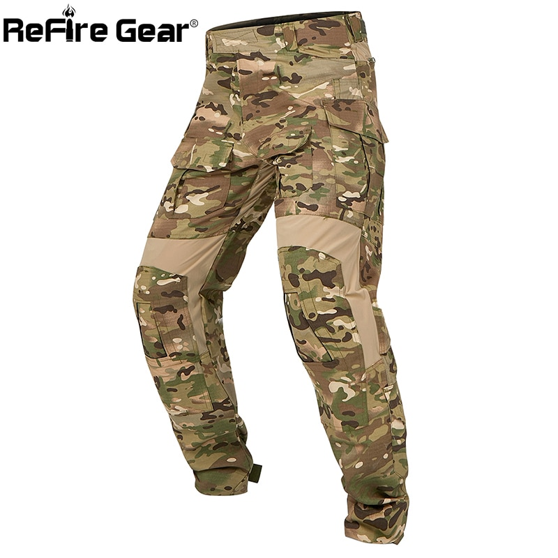 ReFire Gear Camouflage Tactical Pants Autumn Soldiers Combat Airsoft Army Military Pants Elastic Cargo Casual Pant Work Trousers