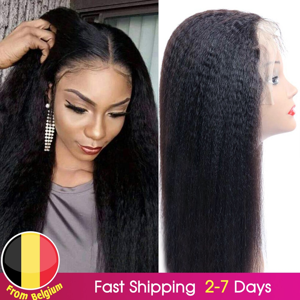 Kinky Straight Wig 4x4 Closure Wig PrePlucked Remy 13*4 Lace Front Human Hair Wigs BEAUDIVA Coarse Y