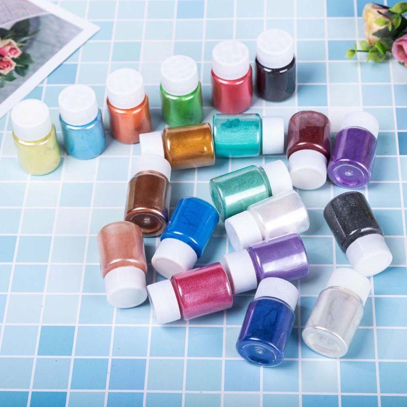 Grado cosmético de 18 colores polvo de mica perlada resina epoxi tinte perla pigmento 10g