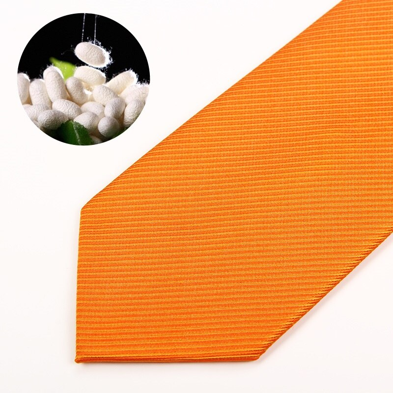 High Quality 2019 New Fashion Ties Men Business 8cm Orange 100% Silk Tie Wedding Ties for men Designers Brand with Gift Box