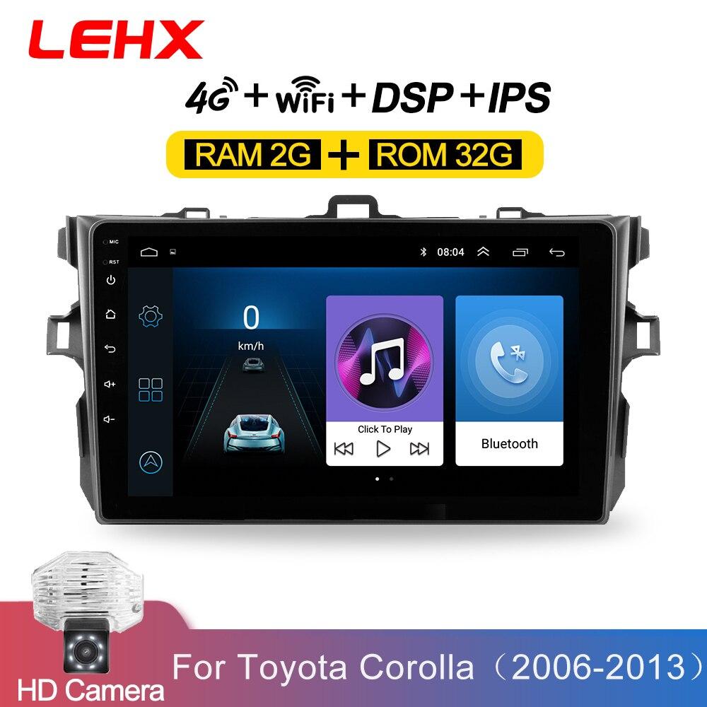 LEHX Car Android 8.1 2Din Radio Car Multimedia Player For Toyota Corolla E140 / 150 2006 2007-2009 2010 2011 2012 2013 2din dvd