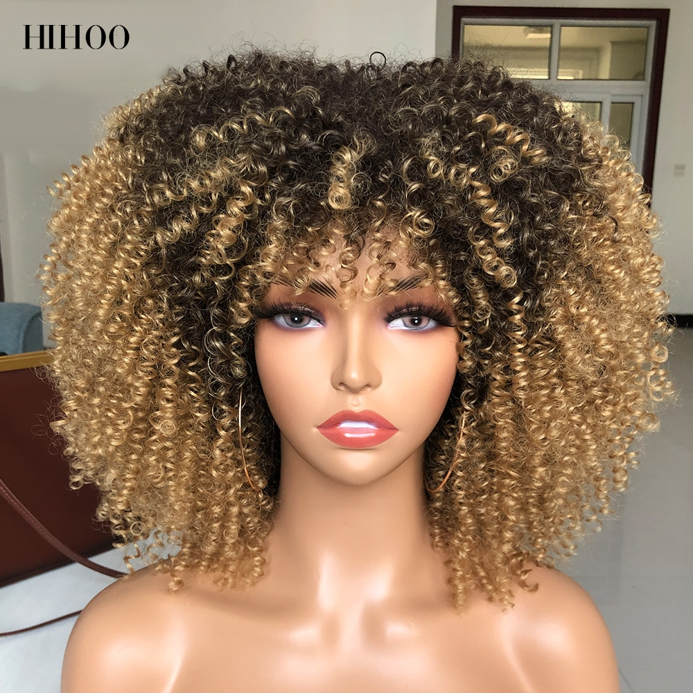 Short Hair Afro Kinky Curly Wigs With Bangs For Black Women Cosplay Lolita Synthetic Natural Hair Glueless Blonde Wig Red Pink