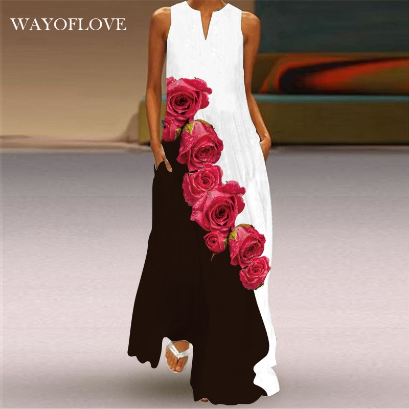 WAYOFLOVE New Red Rose Print Maxi Dress 2021 Casual Plus Size Sleeveless Long Dresses Summer Woman G