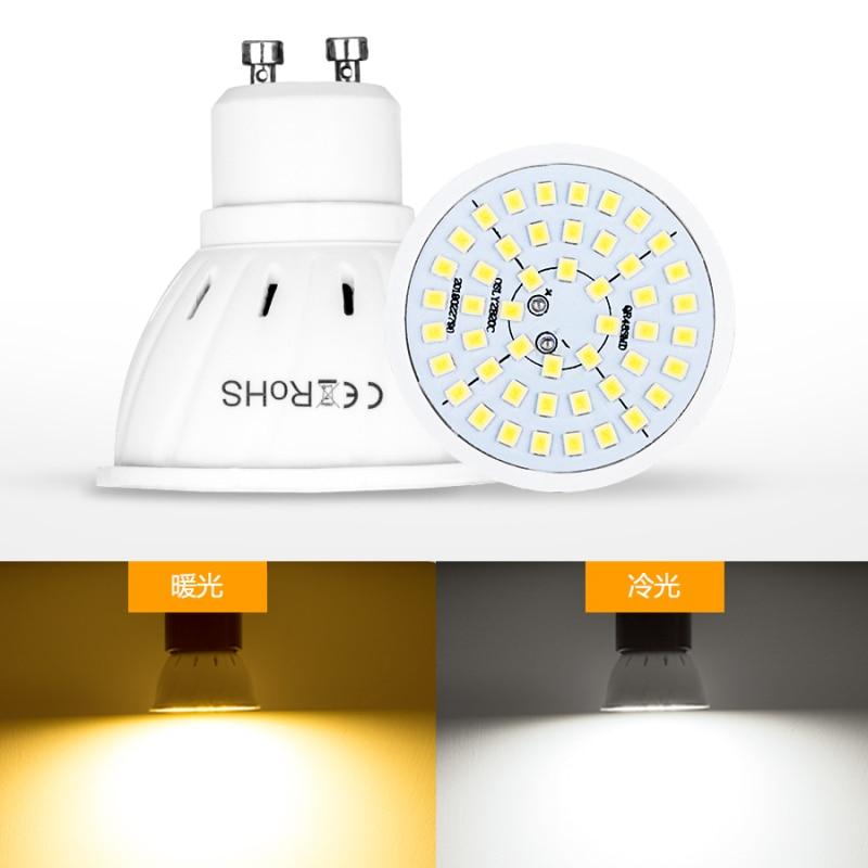 Bombilla de foco LED E27 E14, lámpara de 48 60, 80leds, 220V GU 10, Bombillas Led MR16 Gu5.3, foco de lámpara B22, 5W, 7W, 9W