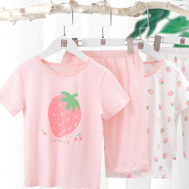 Комплект детской одежды для сна для девочек, футболка с коротким рукавом и штаны розовые пижамы с рисунком для малышей хлопковая одежда для сна комплекты из 2 предметов От 2 до 15 лет Одежда для подростков