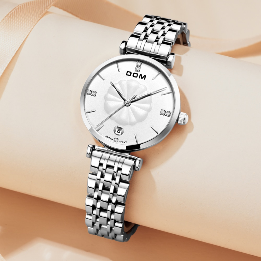 DOM Trendy Casual Lightweight Fashion Luxury Ladies WatchJapanese quartz moveme Waterproof Swimming Stainless Steel Strap G-1340 enlarge