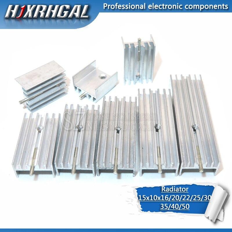 Radiador de alumínio 15*10*16 do dissipador de calor de 1 pces/20/22/25/30/40/50mm com agulha hjxrhgal para transistores to220 branco hjxrhgal