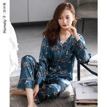 Pajamas WOMEN'S Spring Summer Silk Ice Silk Long Sleeve Clothing Imitated Silk Fabric Thin Spring an