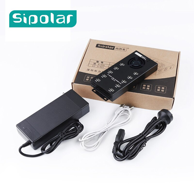 Sipolar A-400 Multi 10 puertos USB 2,0 carga y centro de datos con adaptador de corriente de 120W para reparación de tabletas de teléfono restauración UL opcional