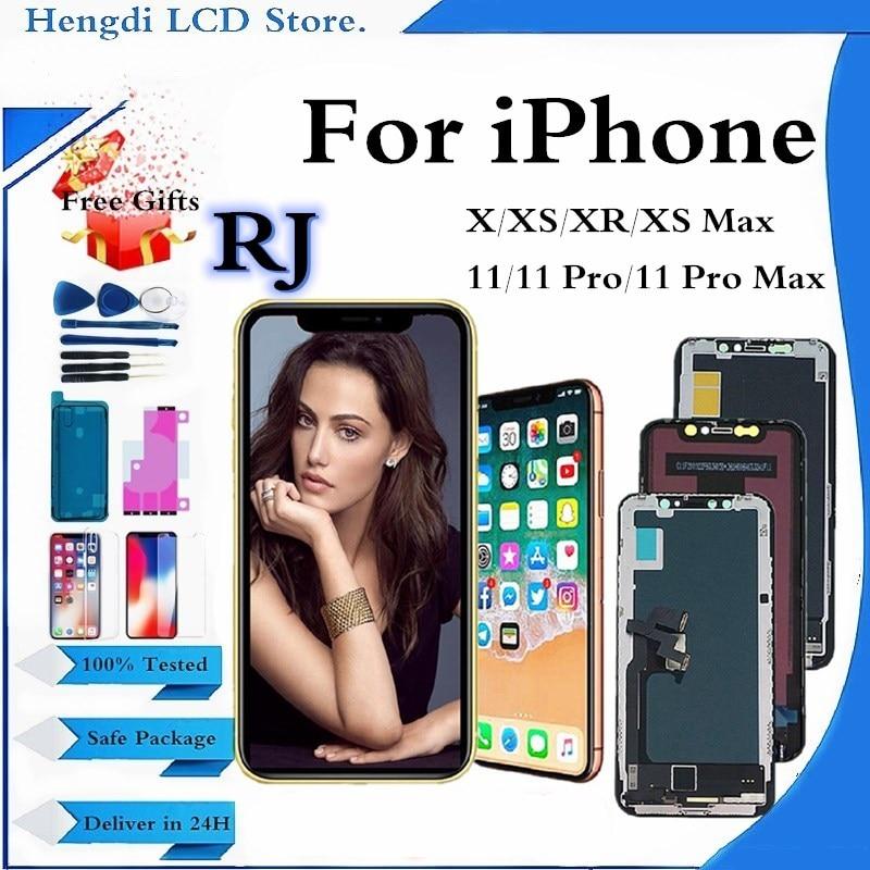 شاشة عرض LCD RJ Pantalla لهاتف iPhone X XS تجميع رقمي باللمس لهاتف iPhone 11 Pro XSMax XR استبدال شاشة عرض LCD