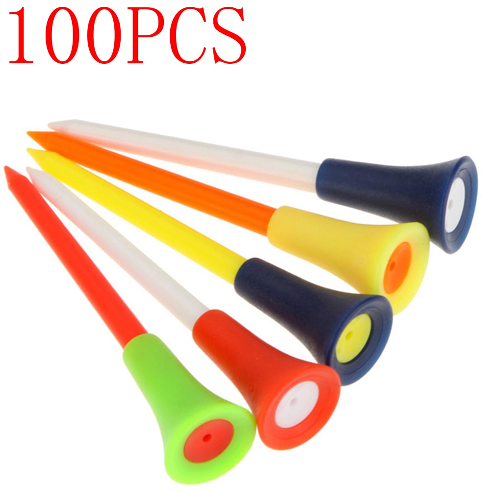 100pcs Mix Colors 83mm Golf Tees Plastic Durable Rubber Cushion Top Ball Holder Accessories