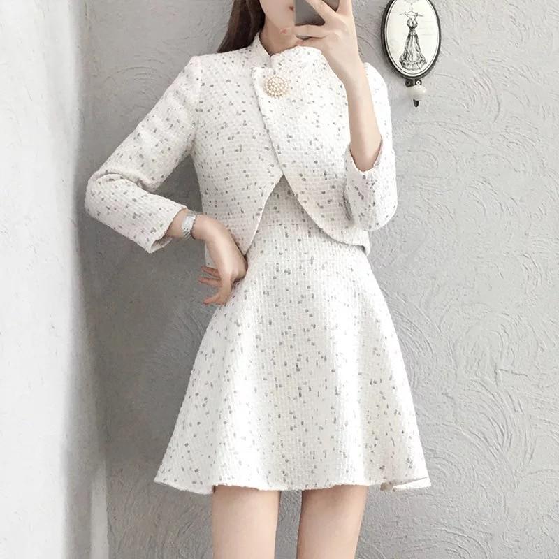 Женский твидовый комплект из 2 предметов, белая клетчатая короткая куртка + жилет, бальные костюмы с юбкой, Осень-зима 2020