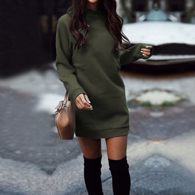 Oufisun Autumn Winter Fashion New Warm Women Dress Casual O Neck Long Sleeve Thicken Solid Mini Dresses Winter Party Dress