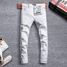 Fashion Streetwear Men Jeans White Color Slim Fit Destroyed Ripped Jeans Men Night Club Punk Pants Designer Hip Hop Jeans Homme