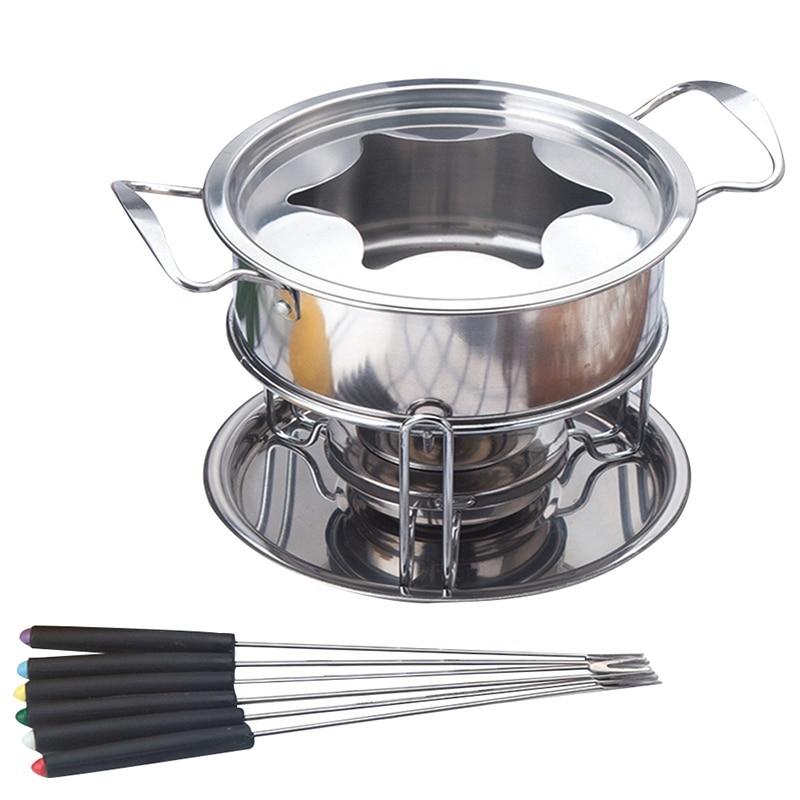 طقم أواني مطبخ من الفولاذ المقاوم للصدأ مكون من 10 قطع ، وعاء تسخين ، آيس كريم ، شوكولاتة ، جبن