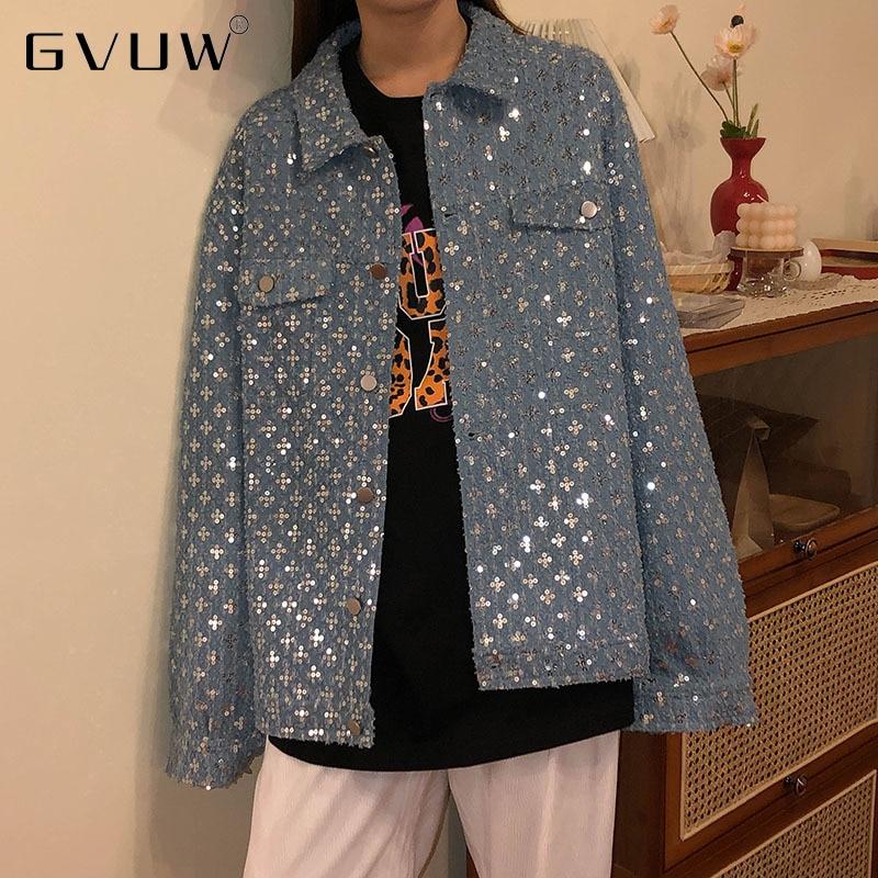 GVUW واحد خاص أوائل الخريف فضفاض المرأة الحلو باردة المتخصصة عالية الشارع سترة تنوعا سترة الدنيم معطف الموضة KB4162
