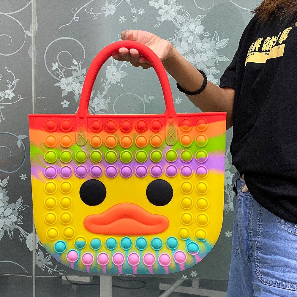 لطيف حجم كبير دفع العملاق البوب XXL بطة طرف الإصبع حقيبة يد حقيبة كبيرة الكبار الأطفال مكافحة الإجهاد لعبة فتاة Crossbody حزمة