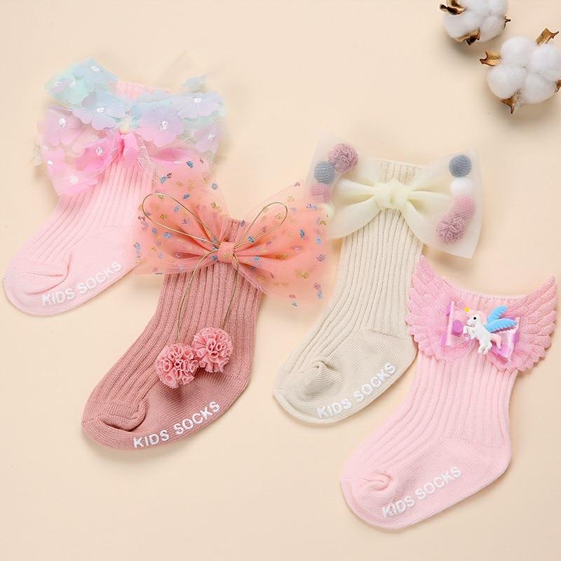 Детские носки для девочек, детские носки с бантом, Детские хлопковые носки без косточек для новорожденных, детские противоскользящие носки