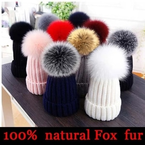 Natural wool fur ball cap, fashion high-end series warm winter cap, children's cap adult winter parent-child cap