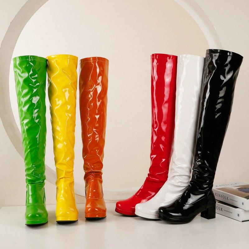 براءات بولي PU جلد النساء فوق الركبة الأحذية منصة الموضة كعب سميك السيدات أحذية طويلة أحذية النساء أحذية الشتاء الأخضر الأصفر