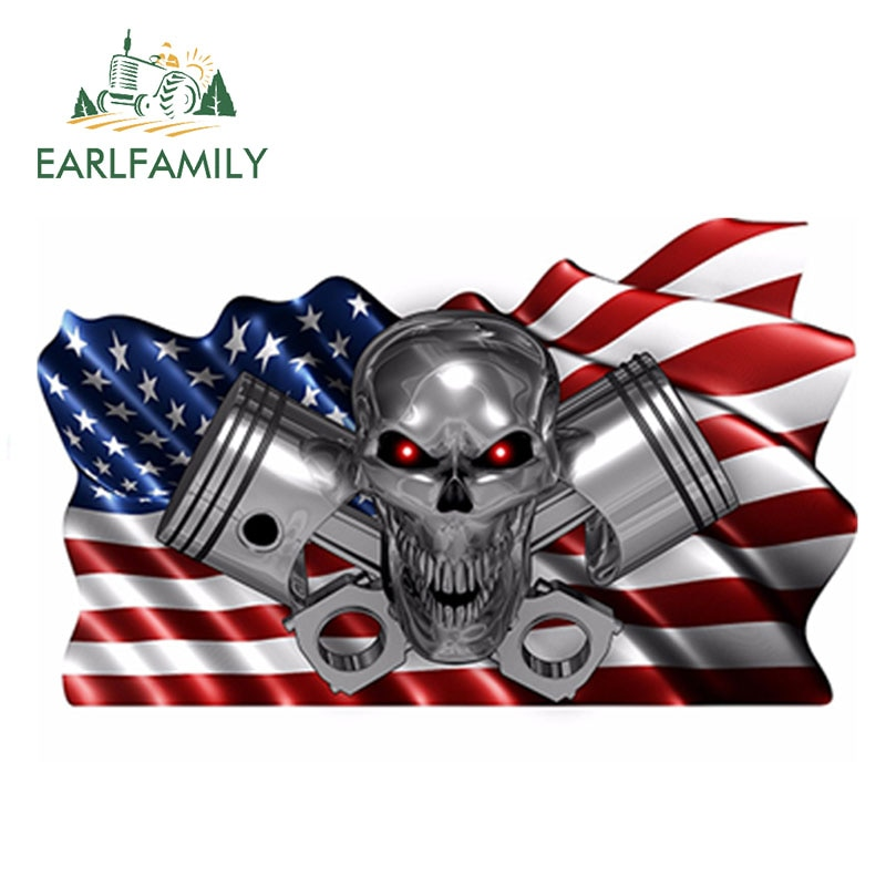 Earlfamily 13cm x 7.7cm eua bandeira quadriculada pistões crânio barco caminhão do carro vinil adesivos de carro de corrida decalques gráficos envoltório