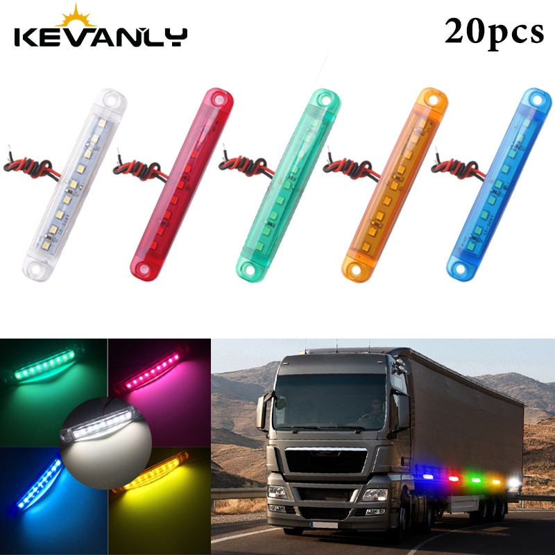 20 piezas 24V LED 5630 9-LED Bus/camión/remolque/camión luces indicador lateral impermeable LED luz trasera Indicador de aparcamiento