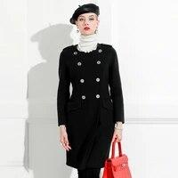 double sided cashmere wool coat female celebrities slim off season cashmere free medium length coat