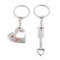 New Sale Romantic Heart Arrow Wedding Couple Keychain Love Heart Key Chain Keyfob Wedding Accessories
