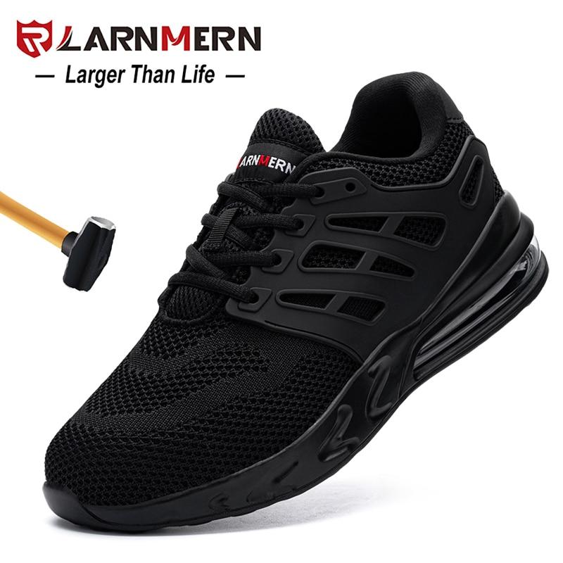 LARNMERN الرجال حذاء امن للعمل الصلب تو مكافحة تحطيم عدم الانزلاق صدمة واقية خفيفة الوزن تنفس البناء حذاء رياضة