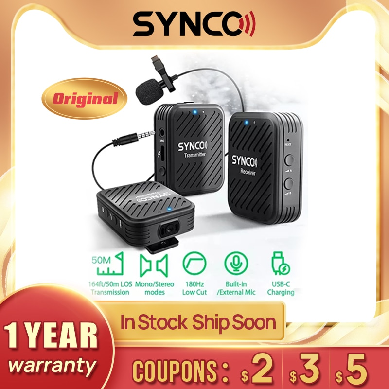 Synco g1 (a2) 2.4ghz sistema de microfone sem fio para smartphone portátil dslr tablet filmadora gravador pk comica