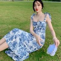 2021 summer new seaside vacation sling skirt fairy lotus leaf edge crushed flower bodycon dress sheath ruffles