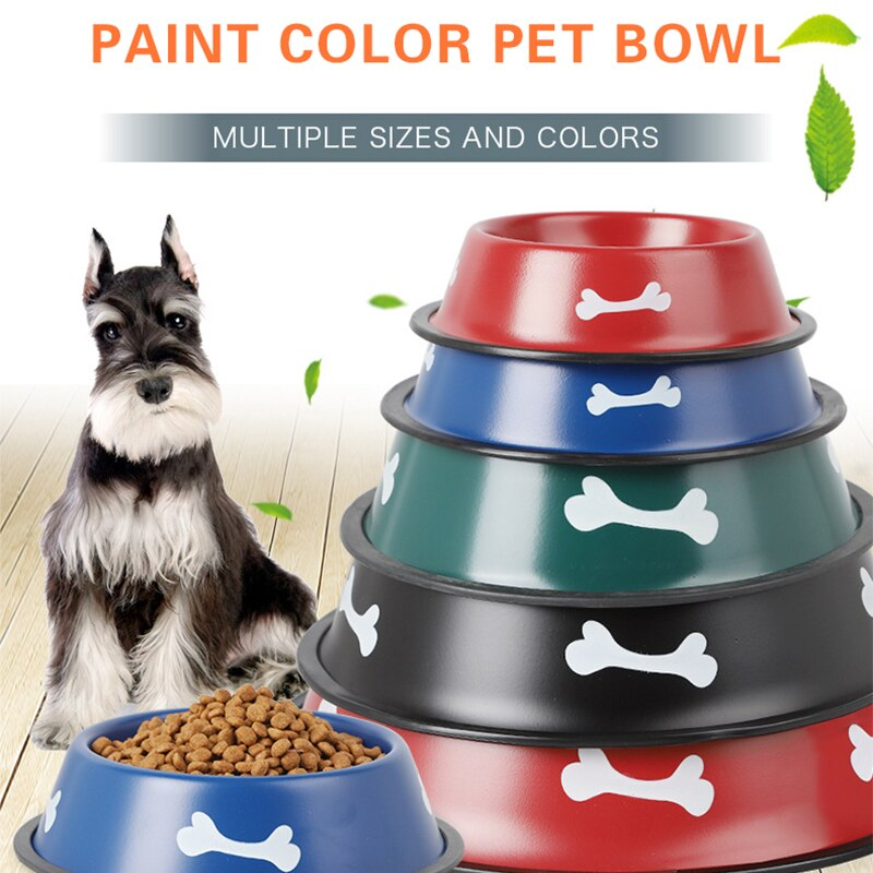 Bol pour chien en acier inoxydable peinture chiot mangeoire chats nourriture bols eau potable bol anti-dérapant plat dalimentation pour chiens fournitures pour animaux de compagnie