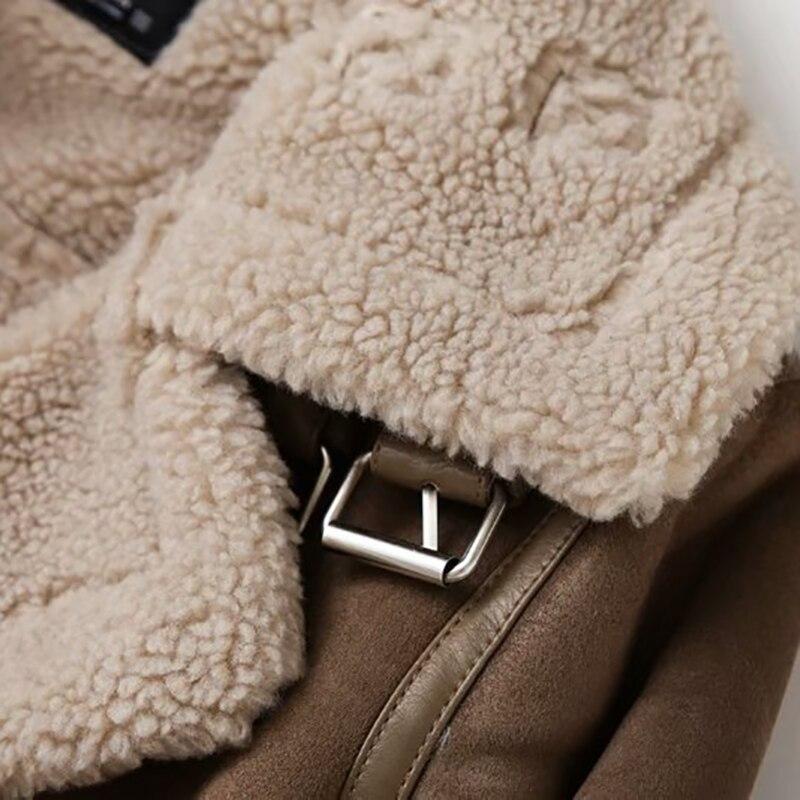 Leather Jacket Woman Coat Winter Sheep Brown Women's Winter 2020 Fashion Women Clothing Vintage Jacket Sheepskin Aviator Jacket enlarge