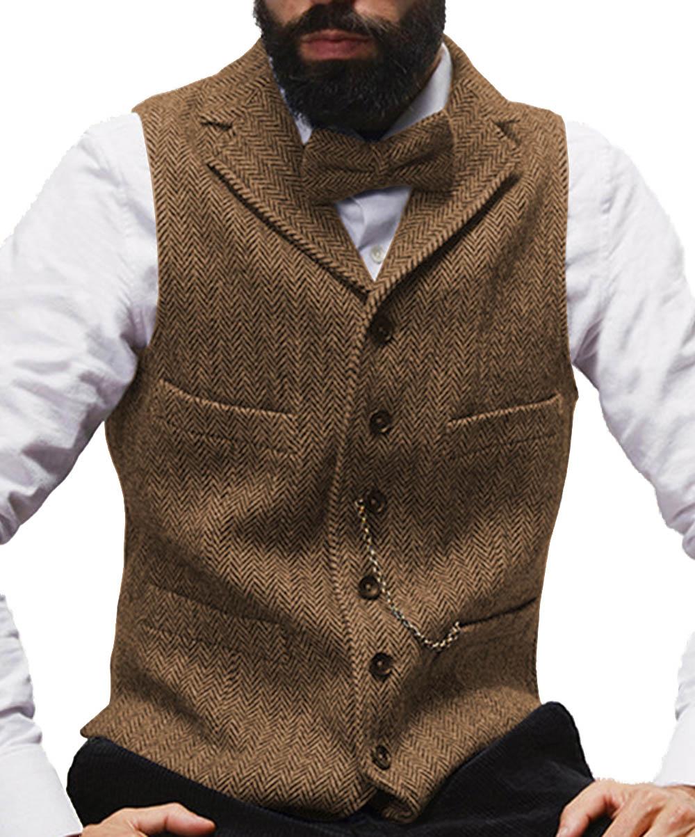 Mens Suit Vest Lapel V Neck Wool Herringbone Casual Formal Business Vest Waistcoat Groomman For Wedding Green/Burgundy/Brown