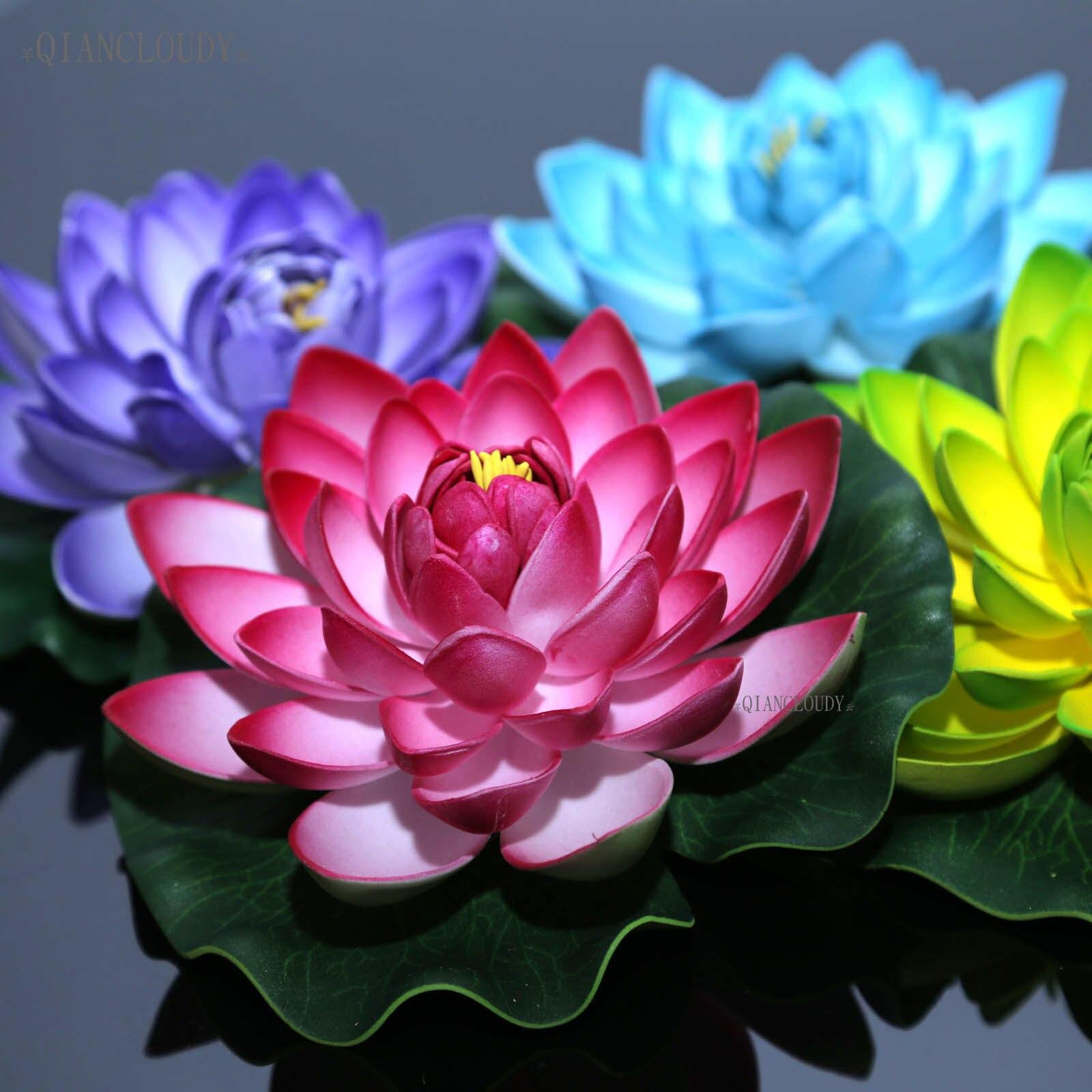 Artificial flor de loto lirio hoja flores piscina flotante estanque flores boda decoración jardín 17CM B12