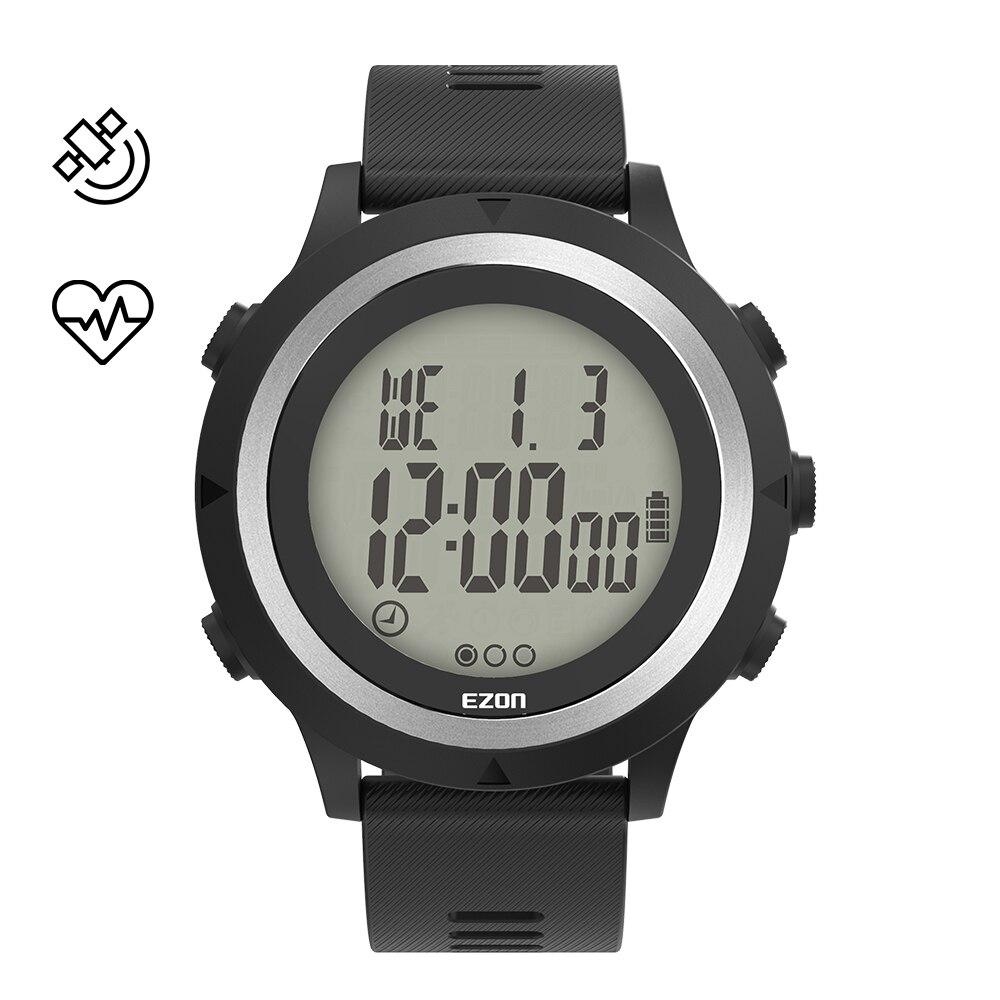 Cronógrafo à Prova Esporte Masculino Correndo Relógio Cronometragem Ezon T909c Óptico Freqüência Cardíaca 5atm Dwaterproof Água Alarme Pedômetro Grande Exibição Gps